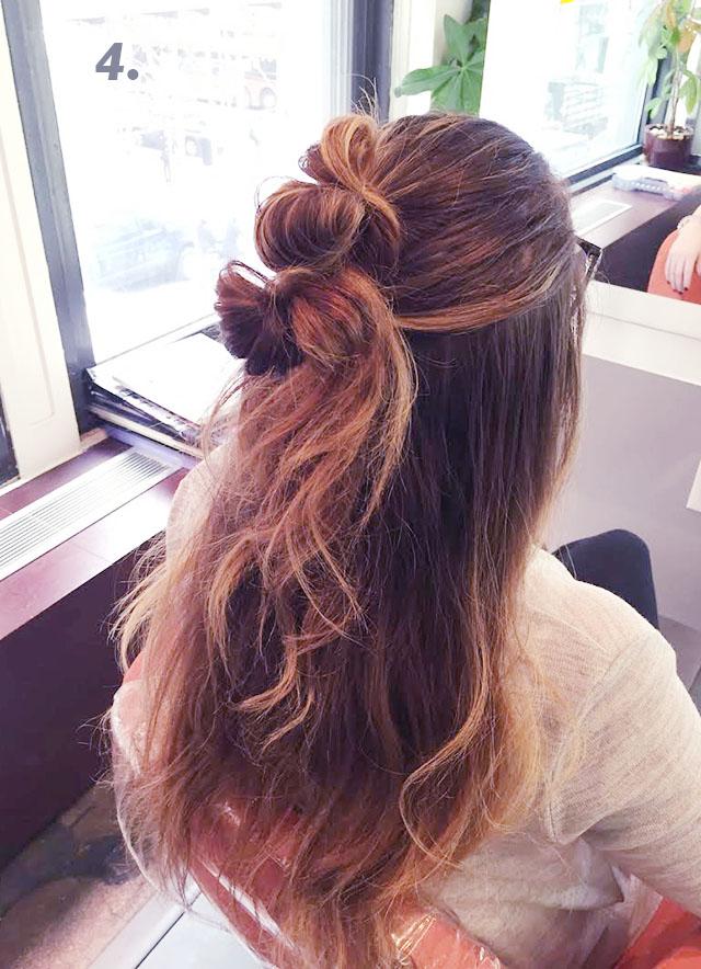 cute halfup up bun hair tutorial_4