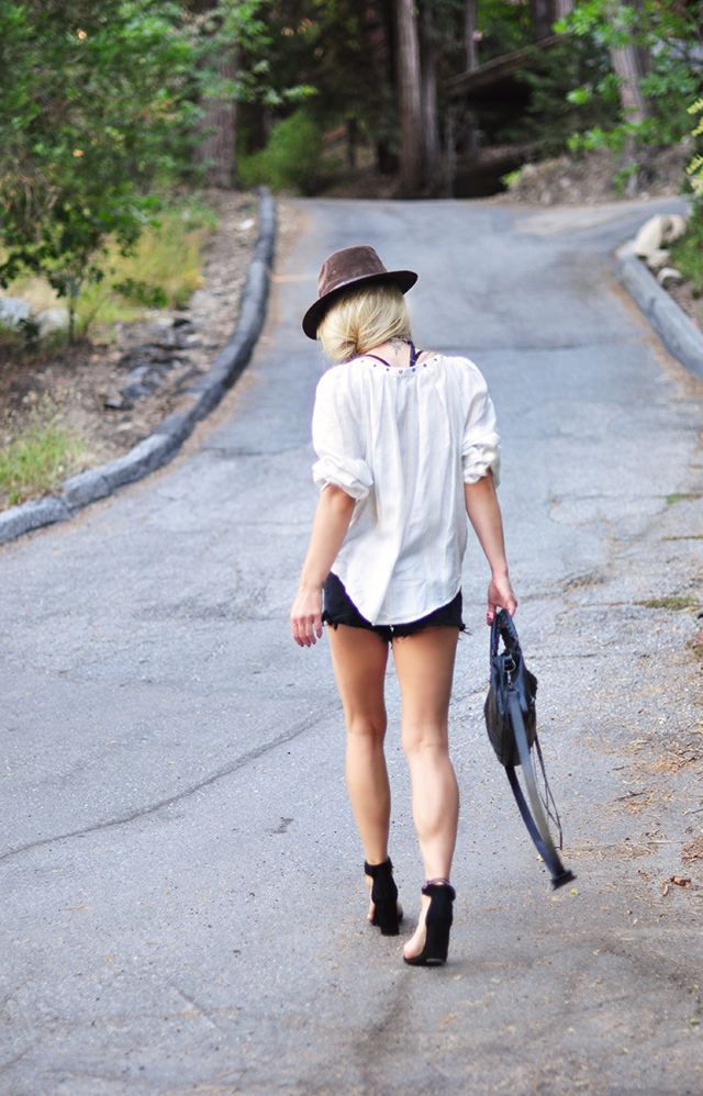 cutoffs and blouse
