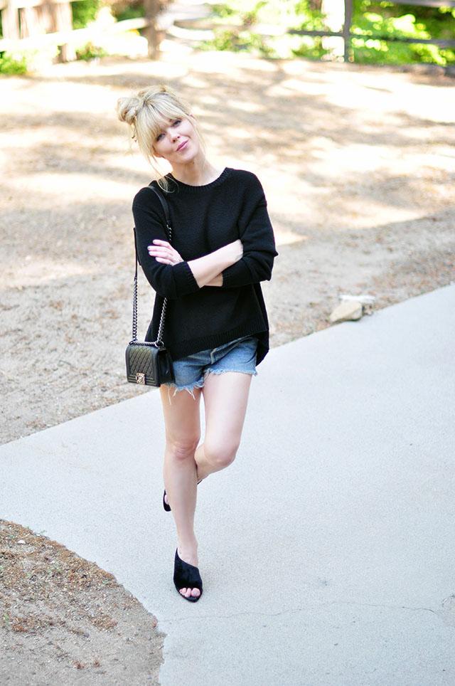cutoffs_wedges_chanel bag_sweater