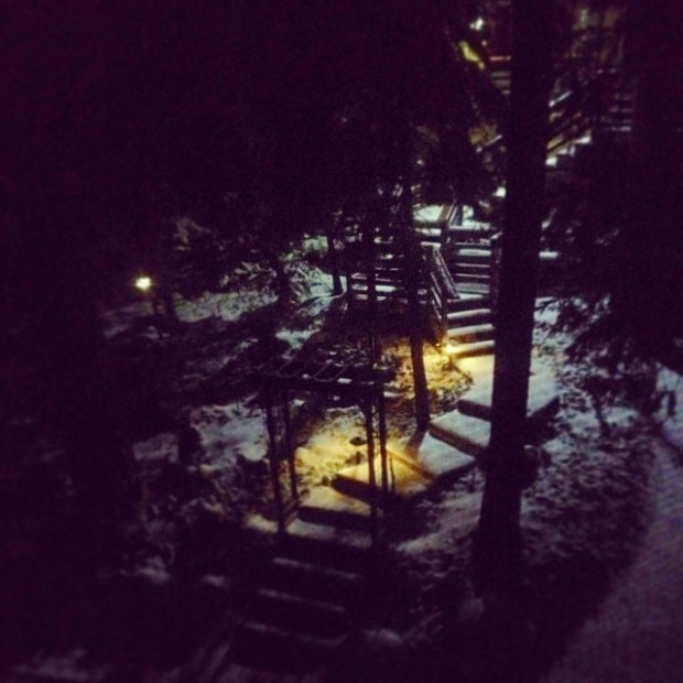 dark snowy steps