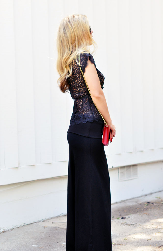 date night oufit -black lace-maxi skirt