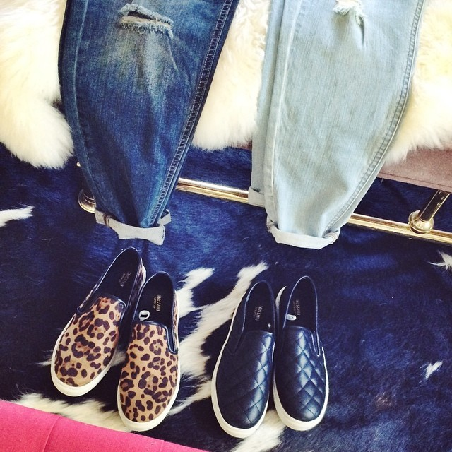 denim and slip on sneakers