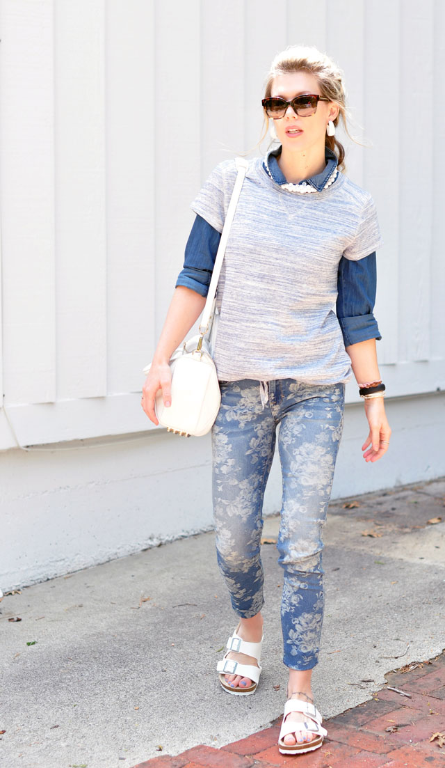 denim on denim+blue and white outfit