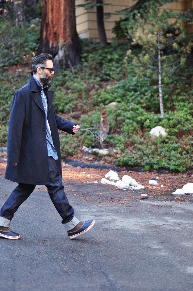 denim on denim menswear look  with winter coat
