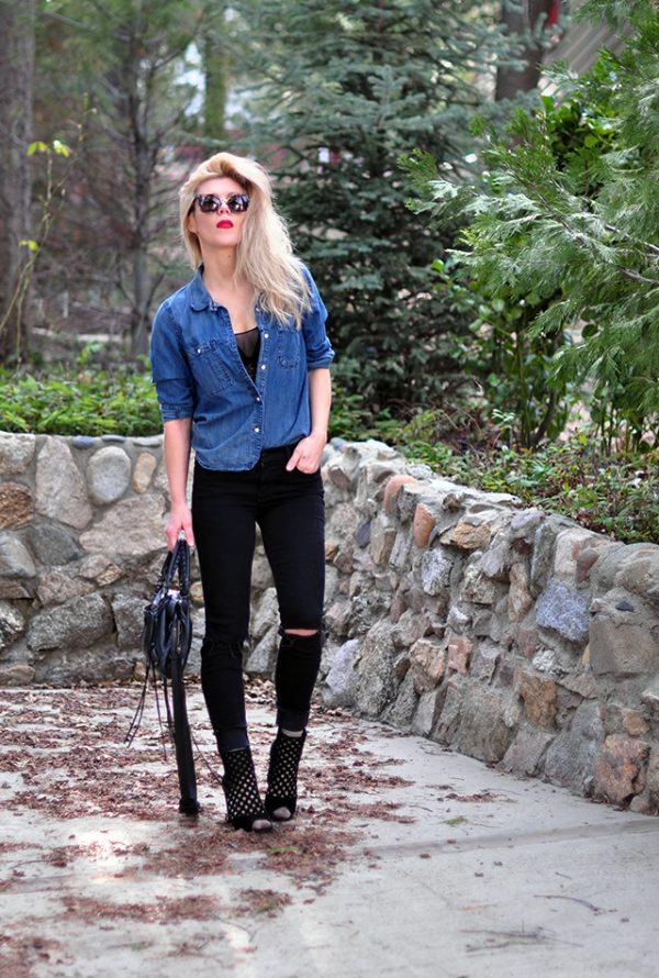 denim shirt_black jeans