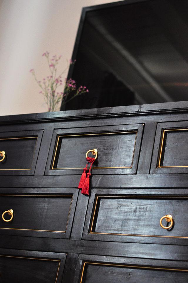 diy black and gold dresser