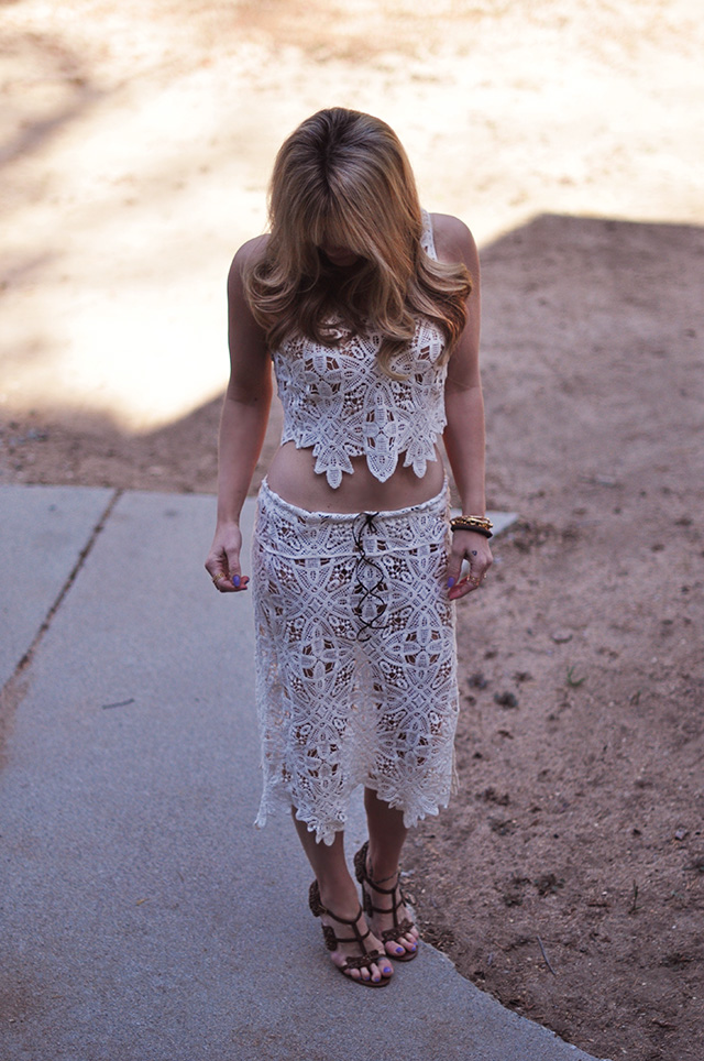 diy crochet lace skirt and crop top dress