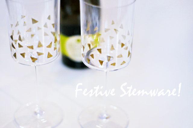 diy festive gold triangles stemware