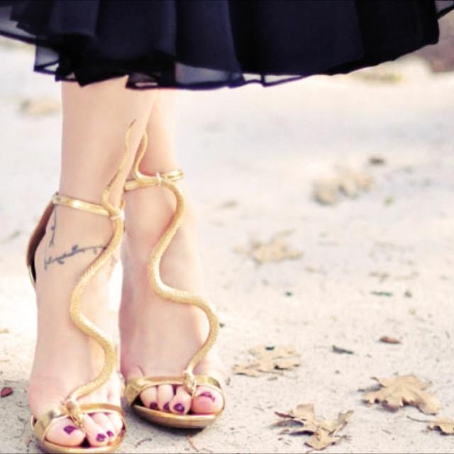 diy gold snake shoes