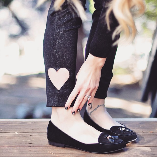 diy heart cut out jeans with flats