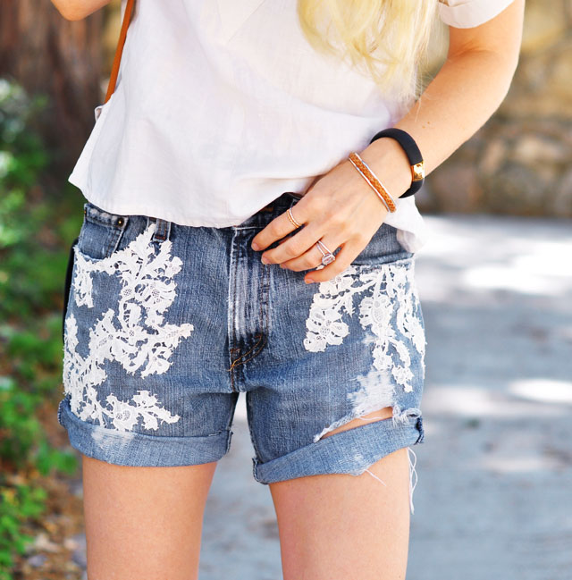 diy lace embroidered cut off jean shorts