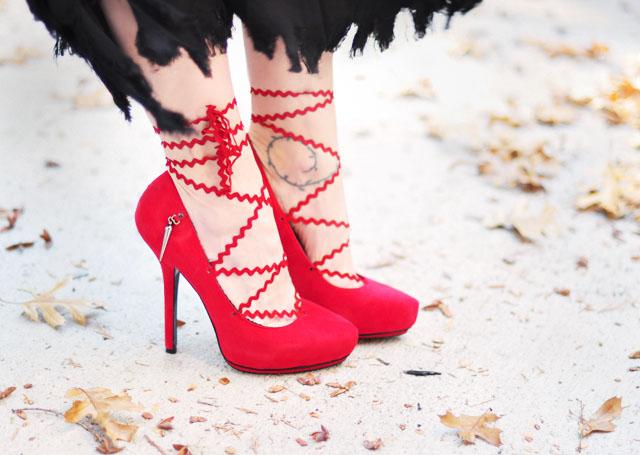 diy lace up heels -red platform pumps-chevron laces