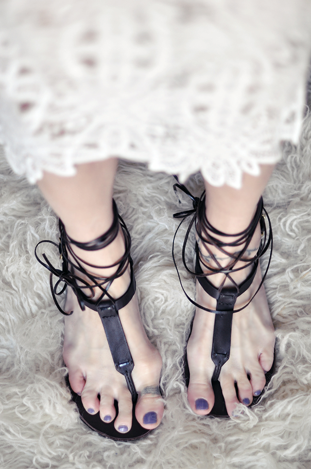 diy leather lace up sandals