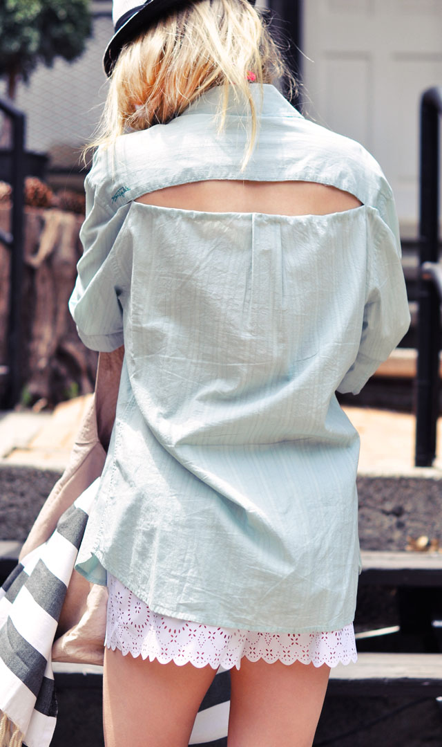 diy open back button down cover up for summer