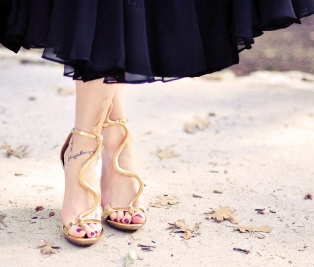 DIY Shoes | Gold Snake Serpent T-Strap Sandals