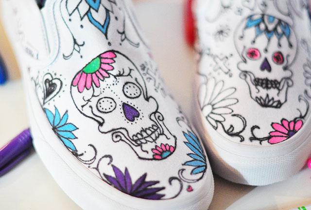 diy sugar skull vans