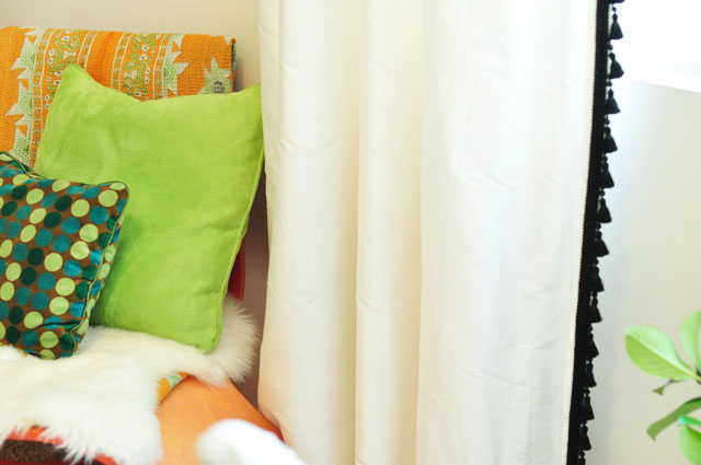 diy tassel curtains+orange+lime color scheme