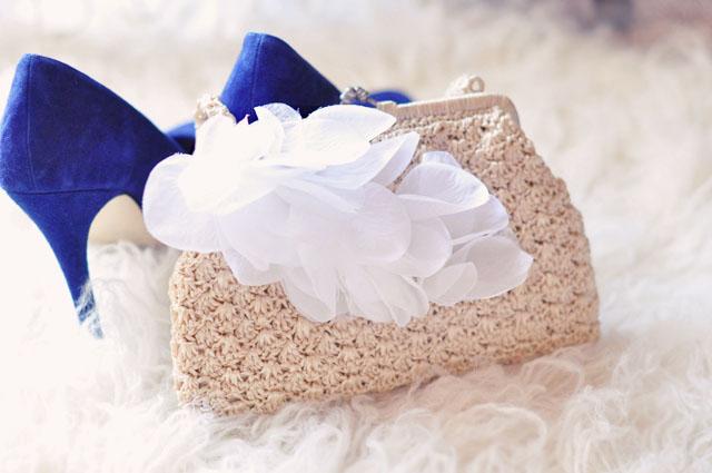 diy wedding petal bag+blue heels