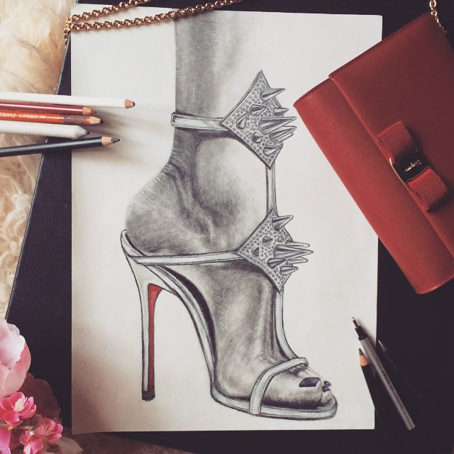 drawing of foot in louboutin sandal