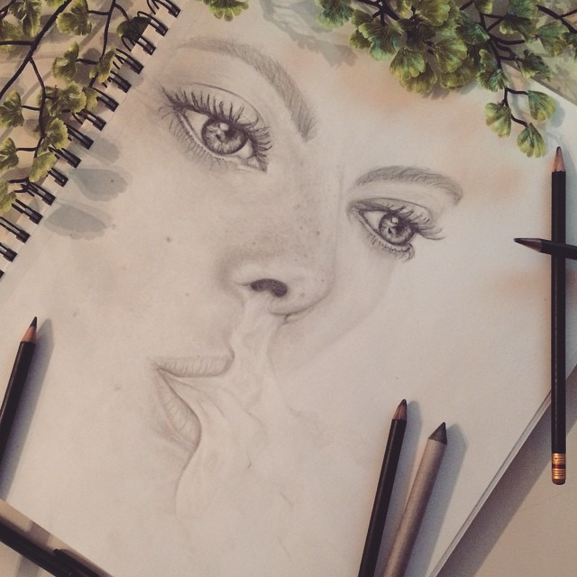 drawing of woman and smoke