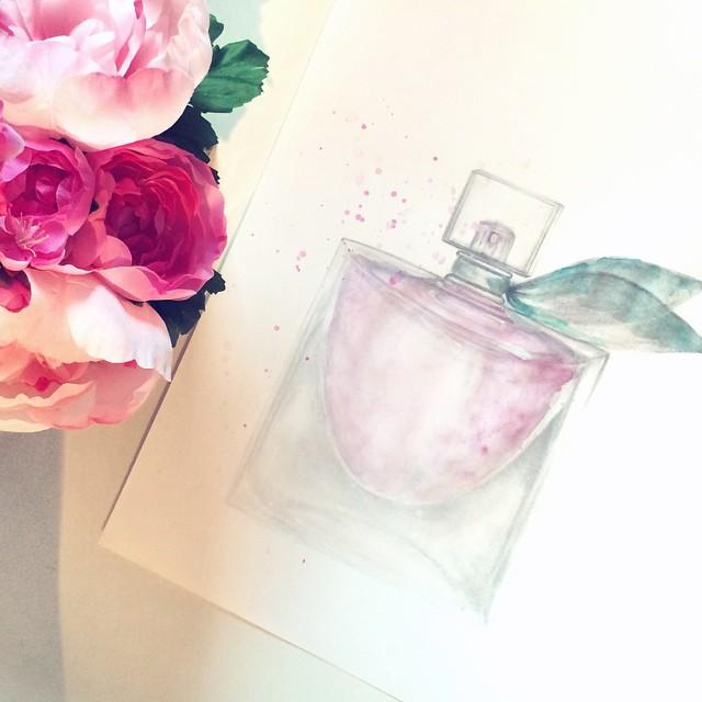 drawing_illustration_perfume bottle_la vie est belle lancome
