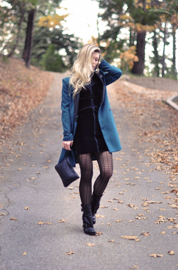 dress and boots and jacket