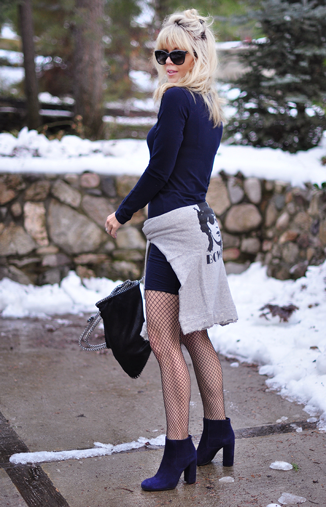 dress and boots in the snow