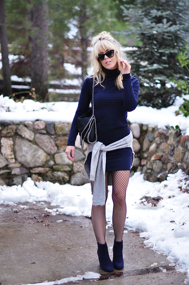 dress and sweatshirt_ boots with fishnets