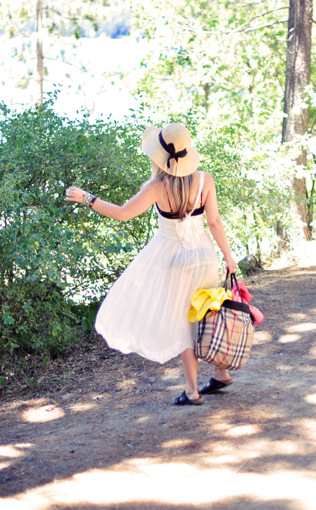 dress by the lake -burberry bag