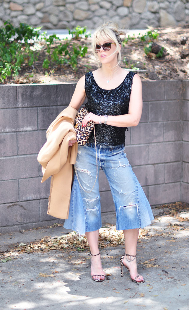 dressed up distressed denim culottes