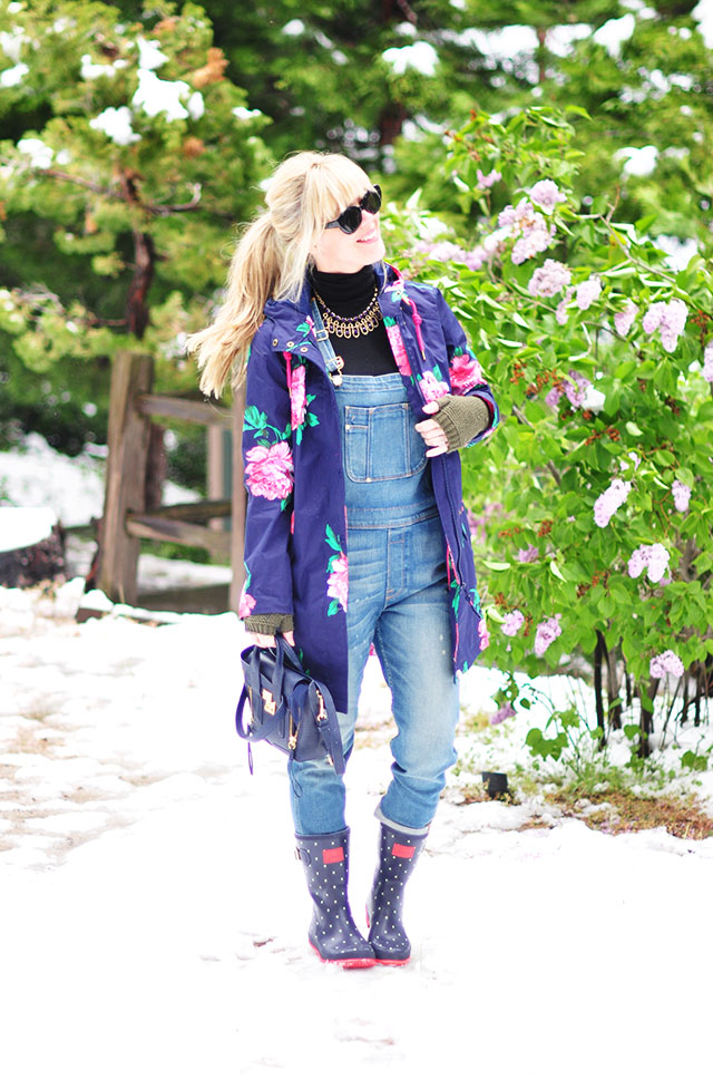 dressed up overalls in the snow_flower coat_polka dot rainboots_phillip lim bag