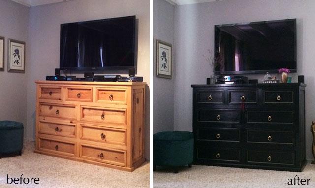 dresser black gold-before after