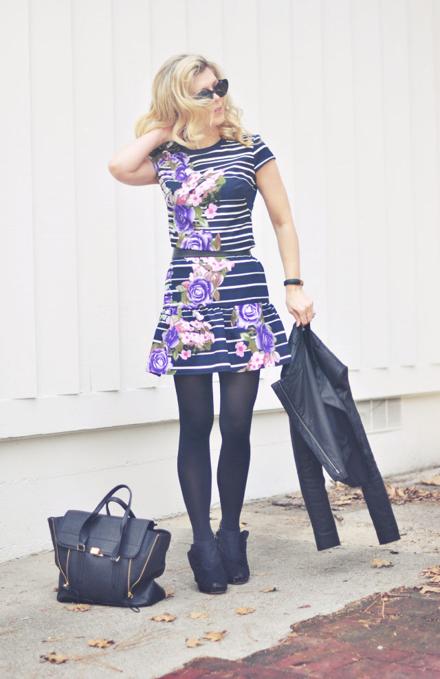 drop wais dress with flowers and stripes