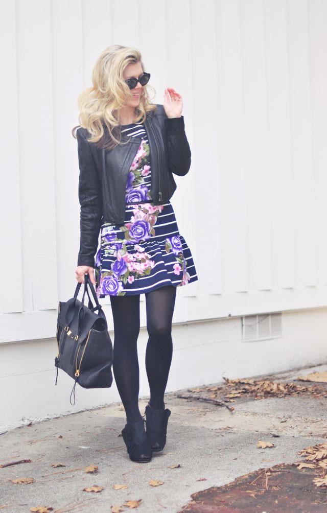 drop waist dress with leather jacket