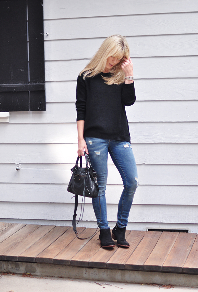 easy style_skinny jeans_ankle boots_black sweater