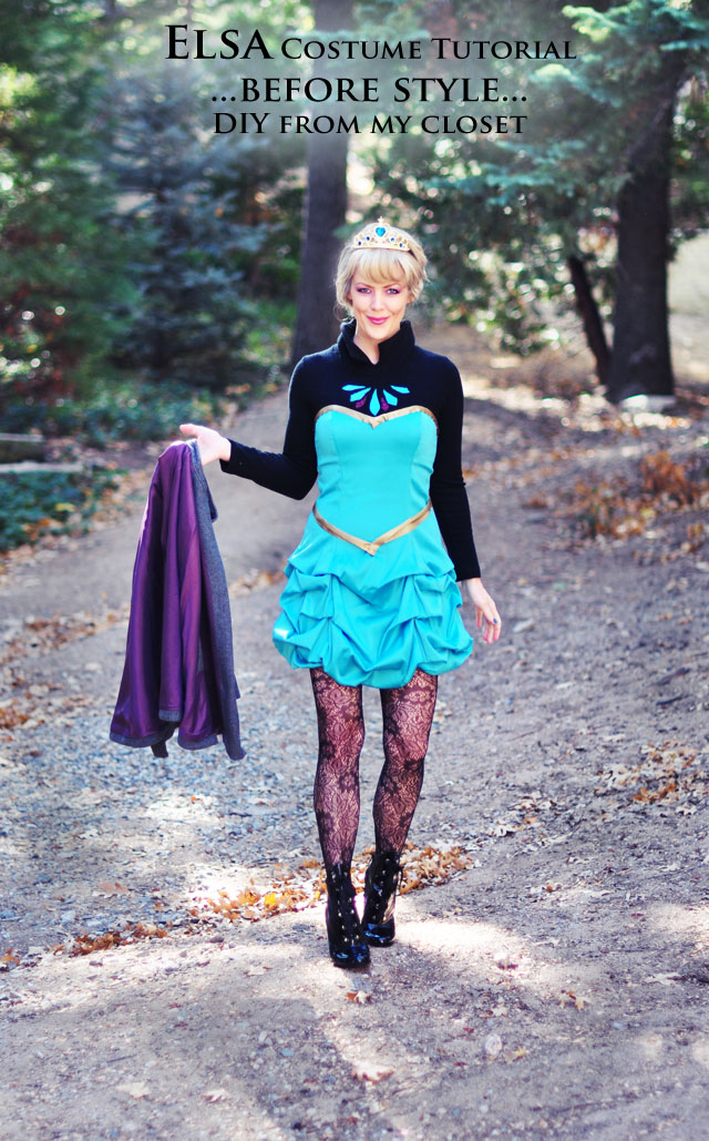 elsa costume-before look-short dress and cape for Halloween or Cosplay