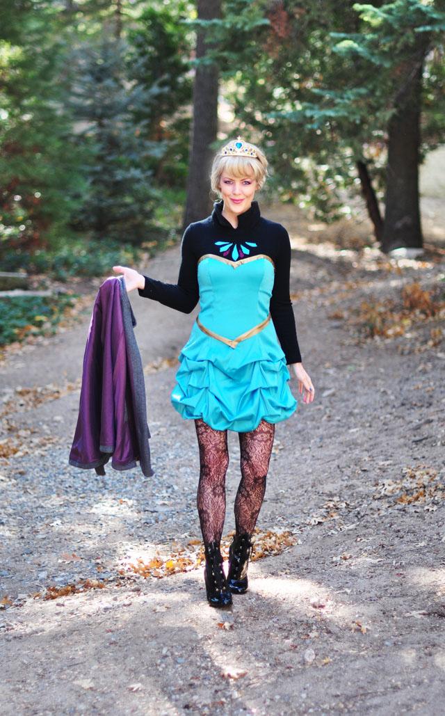 Frozen - elsa DIY costume -before look-short dress and cape
