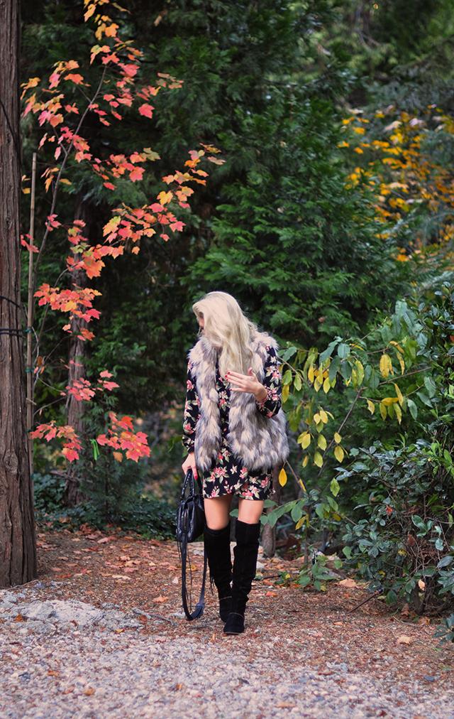 fall-style_fall-foliage-floral-dress_faux-fur-dress-tall-boots