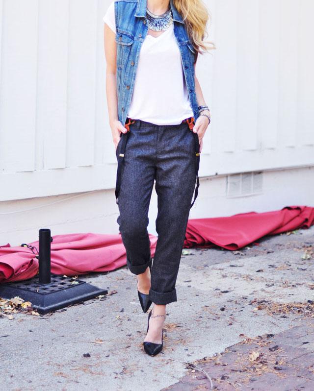 fancy tomboy-wool pants with suspenders