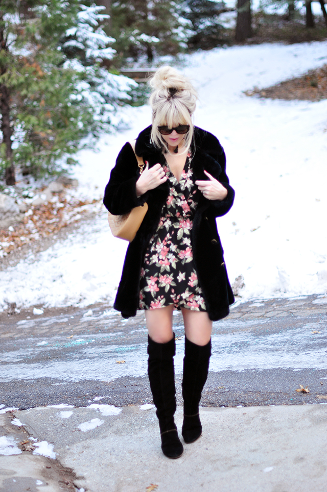 faux fur 60s coat_ floral dress_over the knee suede boots in the snow