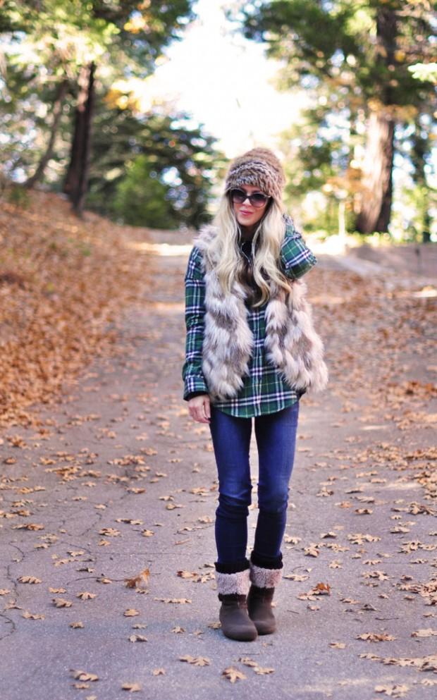 faux fur vest-winter outfit