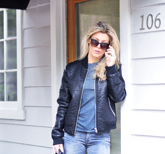 faux leather bomber jacket _ grey jeans and tee