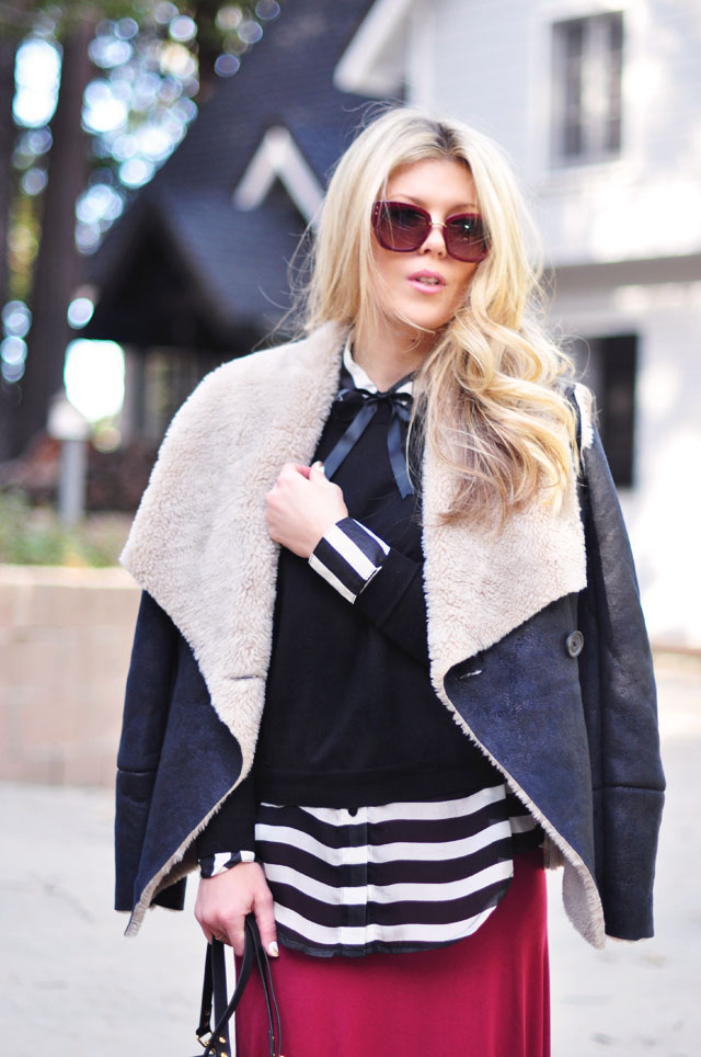 faux shearling coat+black and white stripes+burgundy
