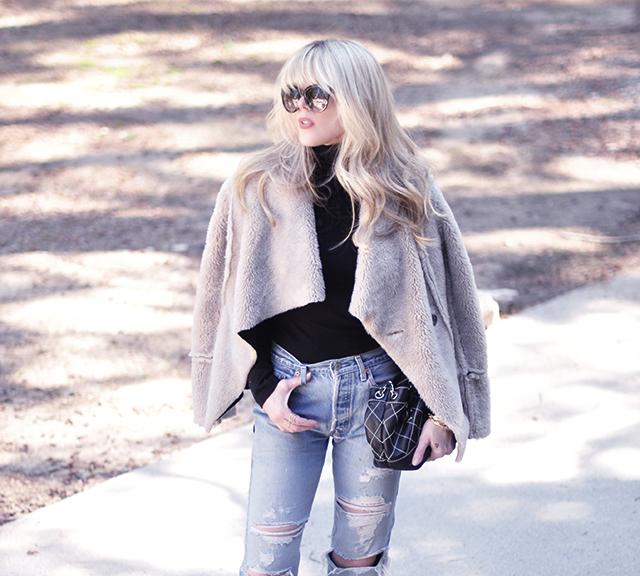 faux sheerling _ vintage levis_blonde bangs