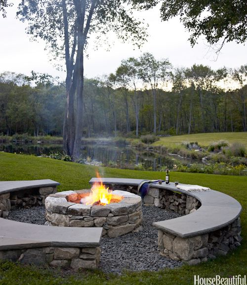 fire pit with sitting area