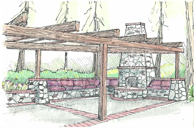 fireplace sitting area concept drawing