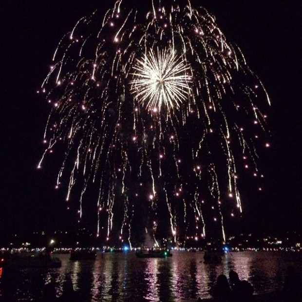 fireworks over the water