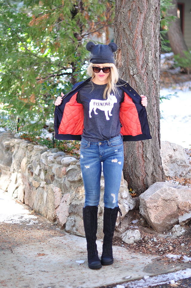 flight jacket in navy_jeans_frenchie tee_ears beanie_combat boots