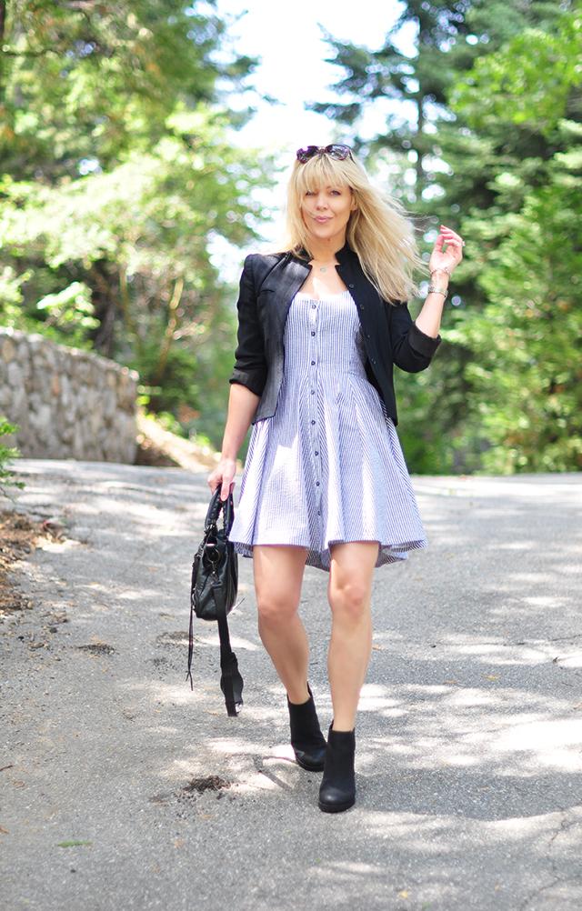 flirty summer dress with black accessories