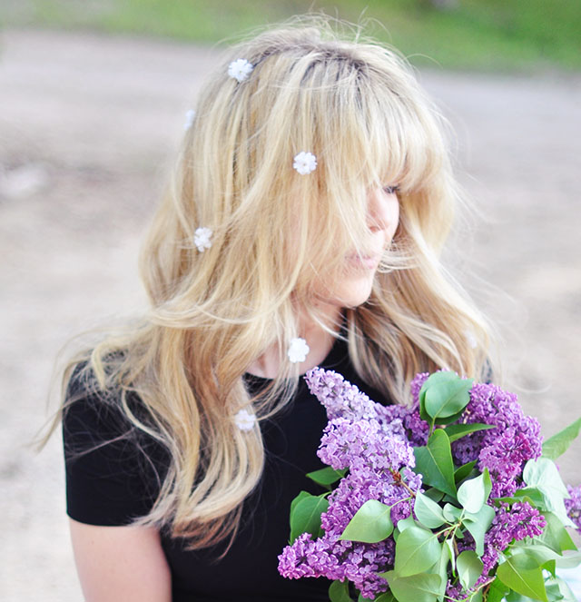 floating flowers in her hair